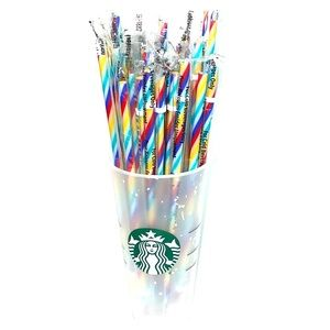 Bundles of (5) Starbucks rainbow reusable straws